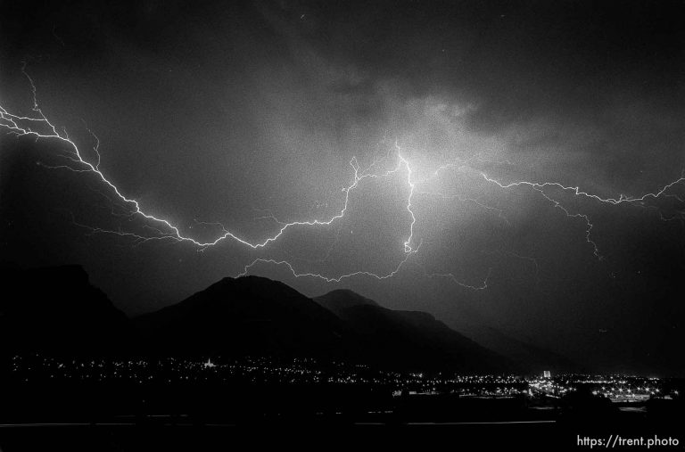 Lightning storm over Provo