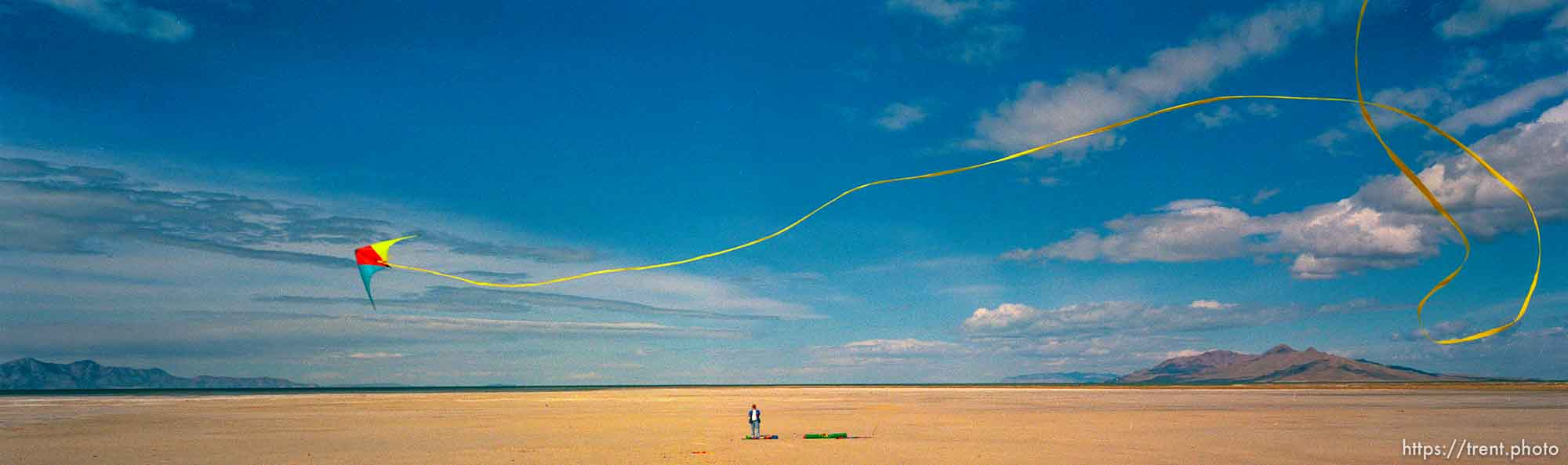 Kite flier at the Great Salt Lake