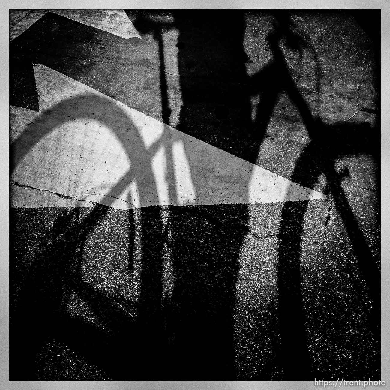 shadow with mountain bike and street