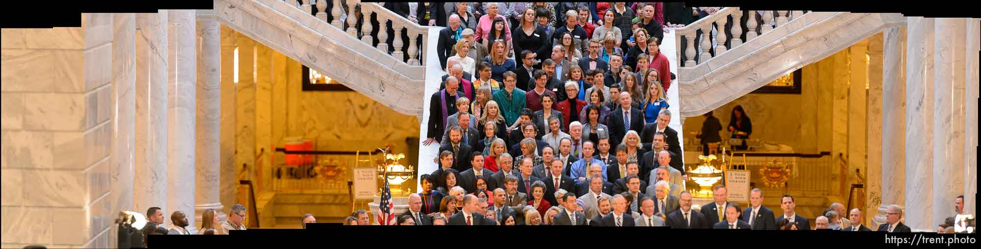 Gov. Gary Herbert signs into law SB296, which gives statewide non-discrimination protections to the gay and transgender community, while providing safeguards for religious liberty, in the rotunda of the State Capitol Building in Salt Lake City, Thursday March 12, 2015.
