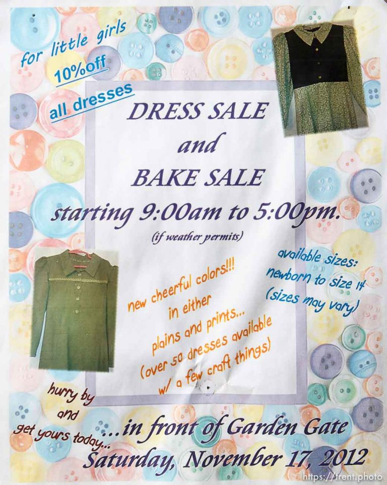 Dress Sale and Bake Sale